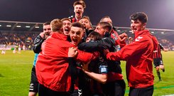 Darragh Leahy of Bohemians, centre, celebrates with team-mates after scoring his side's second goal