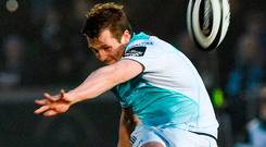 Connacht's Jack Carty kicks a penalty during the match against Glasgow Warriors. Photo: Paul Devlin/Sportsfile