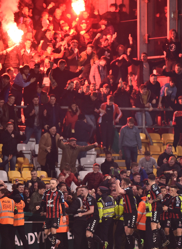 Bohemians fans celebrate after Dan Byrne's equaliser. Darragh Leahy later netted a 99th minute winner to hand the Gypsies a 2-1 victory against their great rivals. Photo: Sportsfile