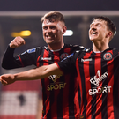 Bohemians' Keith Buckley and Philip Gannon celebrate. Photo: Sportsfile