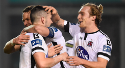 Dundalk's John Muntney (right) celebrates with his team-mates after scoring his side's second goal. Photo: Sportsfile