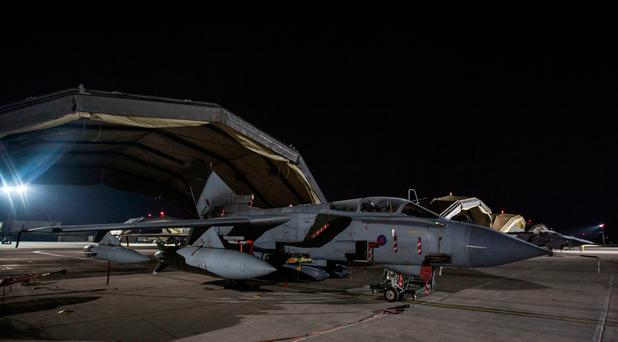 British Ministry of Defence handout photo of a RAF Tornados sitting on the pan taking-off on a sortie at RAF Akrotiri to conduct strikes in support of Operations over the Middle East. Photo: Cpl L Matthews/PA Wire