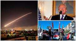 Left: The scene above Damascus after Donald Trump (top right) announced US-led coalition strikes on Syria, which led to protests (bottom right)