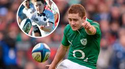 Paddy Jackson on his debut for Ireland in 2013 and (inset) with Methodist College in 2008