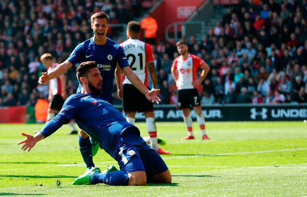 SOUTHAMPTON, ENGLAND - APRIL 14: Olivier Giroud of Chelsea celebrates after scoring his sides third goal during the Premier League match between Southampton and Chelsea at St Mary's Stadium on April 14, 2018 in Southampton, England. (Photo by Henry Browne/Getty Images)