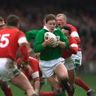 18 Mar 1995: Richard Wallace in action for Ireland against Wales in the Five Nations. Clive Mason/Allsport