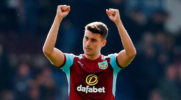 Burnley's Matthew Lowton celebrates after the match. Photo: Ed Sykes/Action Images via Reuters