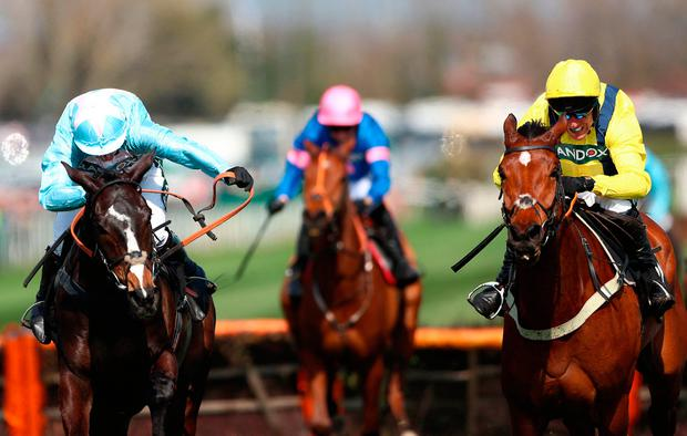 Black Op ridden by Jockey Noel Fehily (left) wins the Betway Mersey Novices' Hurdle at Aintree. Photo: Tim Goode/PA Wire