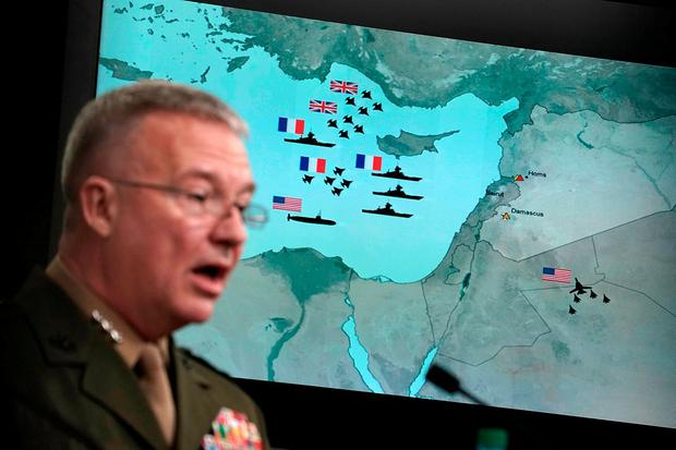 BOMB BRIEFING: US Marine Lt. Gen. Kenneth F. McKenzie Jr. speaks during a news conference about the Syria air strikes at The Pentagon yesterday. Photo: Alex Wong/Getty Images