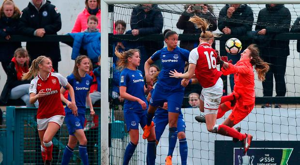 Arsenal Women's Louise Quinn scores her side's second goal of the game