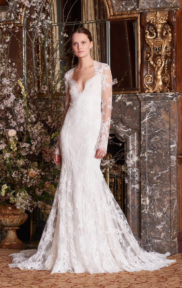 74740a55a ... are added with sheer bodices and deep plunging necklines, long lace  appliqué sleeves reminiscent of one Kate Middleton's now iconic 2011 wedding  dress.