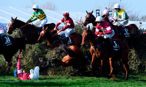 The winning partnership narrowly avoids the fall of Alpha Des Obeaux and Rachael Blackmore at The Chair during Saturday's big race at Aintree. Photo: Getty Images