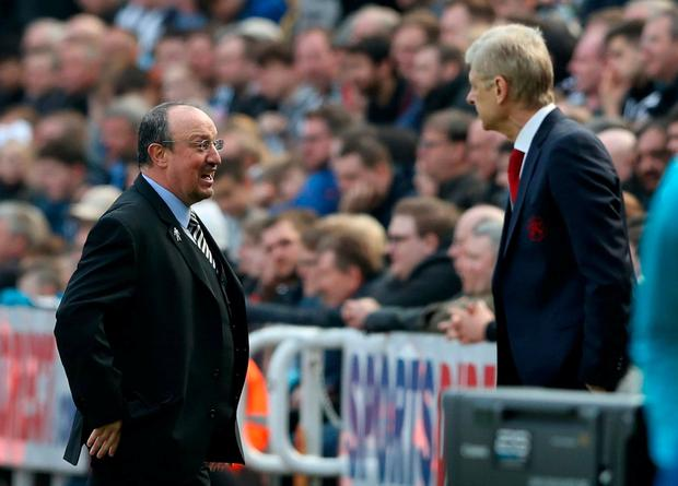 Newcastle United manager Rafael Benitez and Arsenal manager Arsene Wenger. Photo: Scott Heppell/Reuters