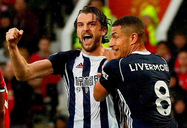 West Bromwich Albion's Jay Rodriguez celebrates scoring their first goal with Jake Livermore. Photo: Jason Cairnduff Action Images via Reuters/Jason Cairnduff