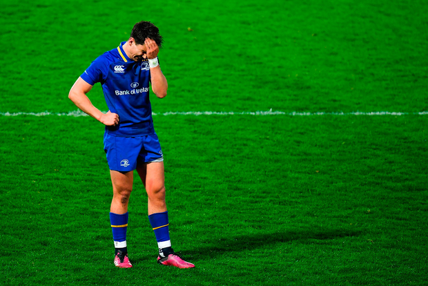 Joey Carbery puts his hand to his head as Leinster suffered a rare defeat to Italian opposition on Saturday night. Photo: Sportsfile