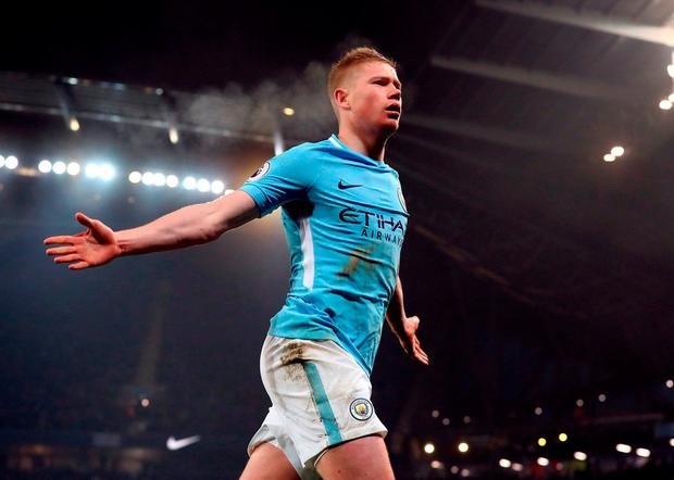 Manchester City's Kevin De Bruyne. Photo: Martin Rickett/PA Wire.