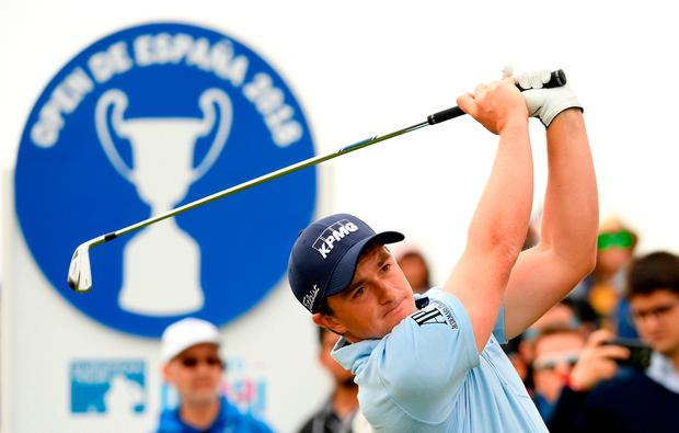 Paul Dunne teeing off at the second during yesterday's final round. Photo: Getty Images