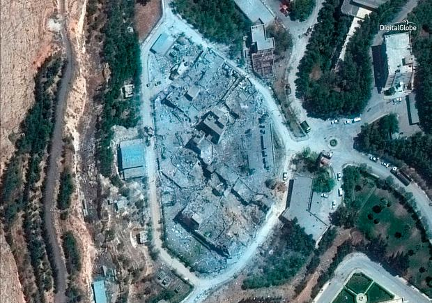 Satellite imagery released yesterday showed significant damage to Barzeh. (Satellite Image ©2018 DigitalGlobe, a Maxar company via AP)