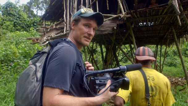 Will Millard arrives at Whitebeard's treehouse in My Year With The Tribe (KEO Films/PA)