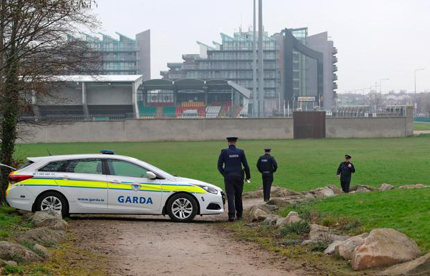 Gardai at the scene in Sean Walsh Park, Tallaght this evening where a critically injured man was discovered by a passer by at around 8am this morning. Picture Colin Keegan, Collins Dublin.