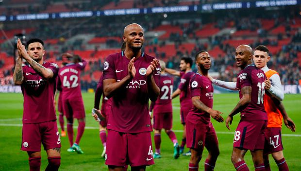 Manchester City's Vincent Kompany and teammates applaud the fans after beating Tottenham at the weekend