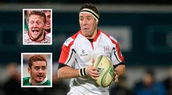 Paddy Wallace and (inset) Stuart Olding and Paddy Jackson