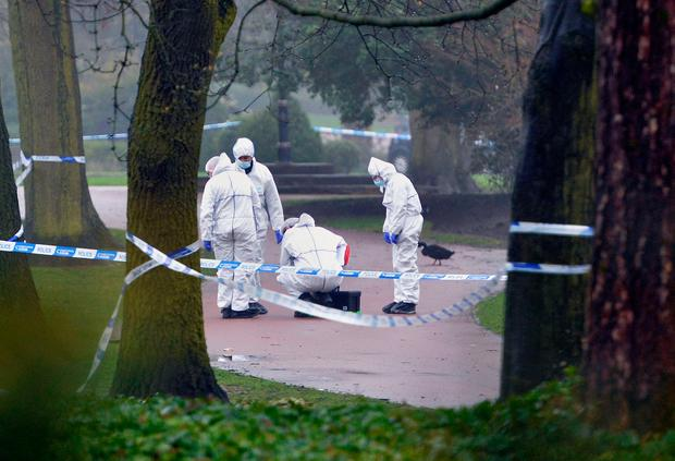 Forensic police at the scene in West Park, Wolverhampton, where 14-year-old Viktorija Sokolova's body was found. Photo: PA Wire