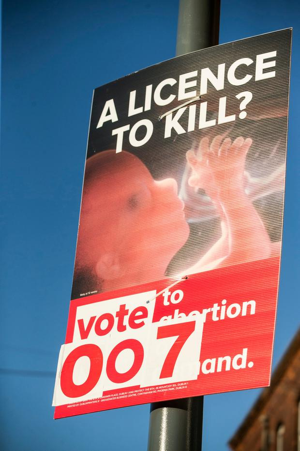 An altered referendum campaign poster on Dorset Street in Dublin