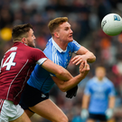 1 April 2018; Ciarán Kilkenny of Dublin in action against Damien Comer of Galway during the Allianz Football League Division 1 Final match between Dublin and Galway at Croke Park in Dublin. Photo by Daire Brennan/Sportsfile