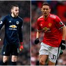 Alexis Sanchez (left), David de Gea (centre) and Nemanja Matic (right).