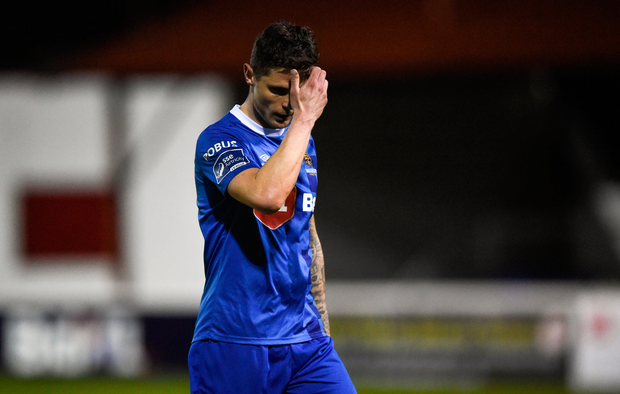 16 April 2018; Gavin Holohan of Waterford makes his way off the pitch after receiving a red card during the SSE Airtricity League Premier Division match between St Patrick's Athletic and Waterford at Richmond Park in Dublin. Photo by David Fitzgerald/Sportsfile