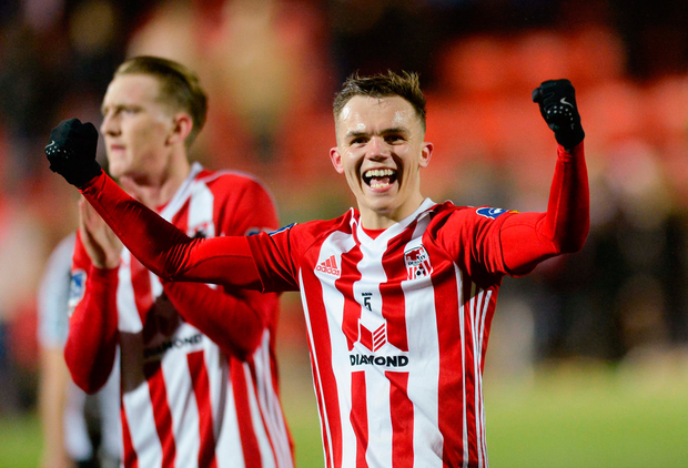 16 April 2018; Rory Hale of Derry City celebrates after the SSE Airtricity League Premier Division match between Derry City and Bohemians at the Brandywell Stadium in Derry. Photo by Oliver McVeigh/Sportsfile