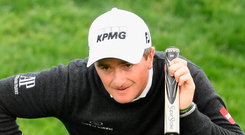 Paul Dunne lines up a putt at the Open de Espana. Photo: Sportsfile