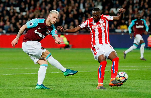 Bruno Martins Indi attempts to block a shot from West Ham United's Marko Arnautovic. Photo: REUTERS/David Klein