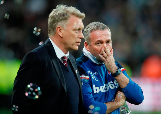 West Ham United manager David Moyes and Stoke City manager Paul Lambert before kick-off. Photo: REUTERS/David Klein