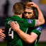 Bray duo Hugh Douglas and Conor Kenna celebrate their victory over Shamrock Rovers. Photo: Sportsfile