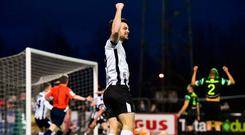 Patrick Hoban celebrates a goal from Dundalk team-mate Robbie Benson at Oriel Park. Photo: Seb Daly/Sportsfile