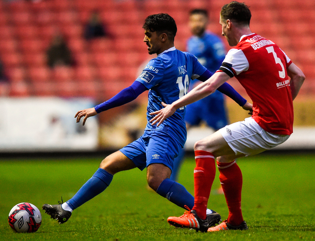 Waterford's Faysel Kasmi keeps possession ahead of St Patrick's Athletic's Ian Bermingham. Photo: Sportsfile