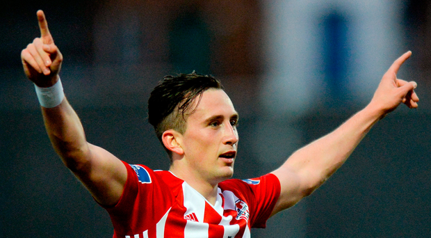 Derry City's Aaron McEneff celebrates after scoring the opener. Photo: Sportsfile