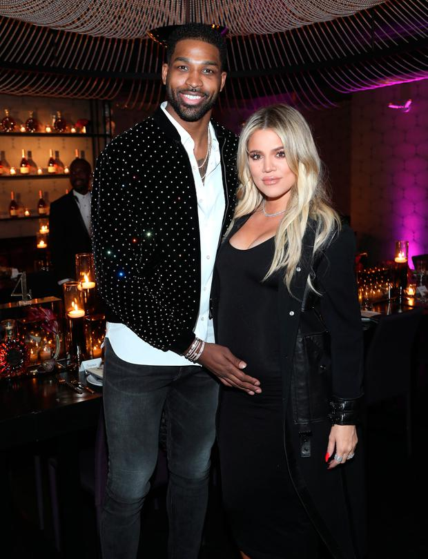 Tristan Thompson and Khloe Kardashian attend the Klutch Sports Group