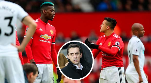 Pogba and Sanchez and (inset) Gary Neville