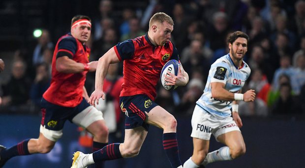 14 January 2018; Keith Earls of Munster during the European Rugby Champions Cup Pool 4 Round 5 match between Racing 92 and Munster at the U Arena in Paris, France. Photo by Brendan Moran/Sportsfile
