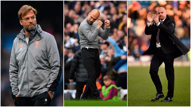 Jurgen Klopp (left), Pep Guardiola (centre) and Sean Dyche (right).