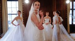 Backstage at Monique Lhuillier Spring 2019 Bridal show at New York Bridal Fashion Week 2018 | Photo by Kevin Tachman
