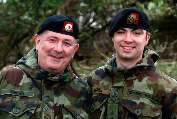 Father and son Company Sergeant Con O'Brien and Lieutenant Conor O'Brien from Ballybofey, Co Donegal, who are both deploying to Lebanon. Photo: Collins