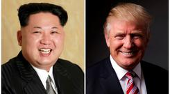 A combination photo shows a Korean Central News Agency (KCNA) handout of Kim Jong Un released on May 10, 2016, and Donald Trump posing for a photo in New York City, U.S., May 17, 2016. REUTERS/KCNA handout via Reuters/File Photo & REUTERS/Lucas Jackson/File Photo