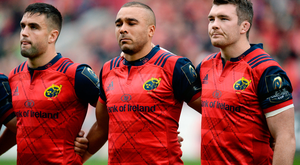 Munster players Conor Murray, left, Simon Zebo, centre, and captain Peter O'Mahony