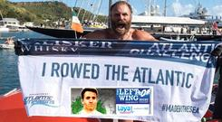 Damien Browne in Antigua after completing his solo row across the Atlantic.