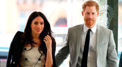 Prince Harry and Meghan Markle arrive for a reception with delegates from the Commonwealth Youth Forum at the Queen Elizabeth II Conference Centre, London, during the Commonwealth Heads of Government Meeting