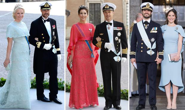 (L to R) Norway's Mette-Marit and Crown Prince Haakon, Denmark's Crown Princess Mary and Crown Prince Frederik and Sweden's Prince Carl Philip and Princess Sofia